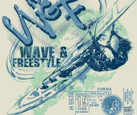 Extreme sports vintage poster template vectors 02