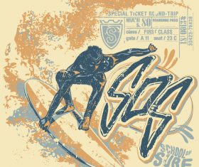 Extreme sports vintage poster template vectors 03