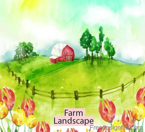 Farm landscape watercolor drawn vector 01