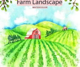 Farm landscape watercolor drawn vector 02