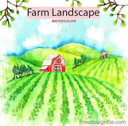 Farm landscape watercolor drawn vector 02