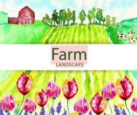 Farm landscape watercolor drawn vector 03