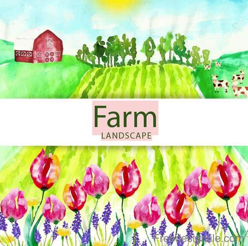Farm landscape watercolor drawn vector 03