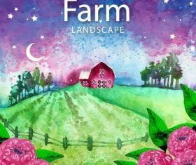 Farm landscape watercolor drawn vector 04