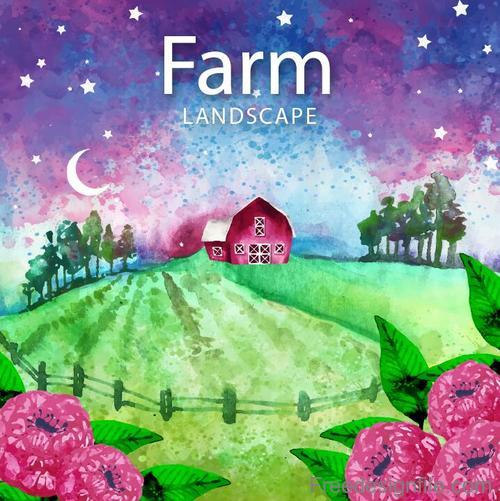 Farm landscape watercolor drawn vector 04