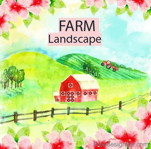 Farm landscape watercolor drawn vector 05