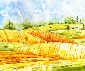Farm landscape watercolor drawn vector 06