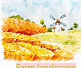 Farm landscape watercolor drawn vector 07