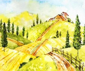 Farm landscape watercolor drawn vector 08
