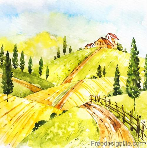 Farm landscape watercolor drawn vector 08