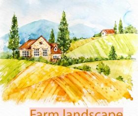 Farm landscape watercolor drawn vector 09