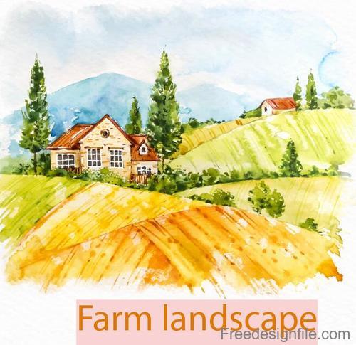 Farm landscape watercolor drawn vector 09