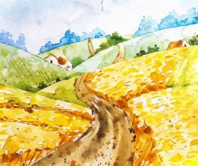 Farm landscape watercolor drawn vector 10