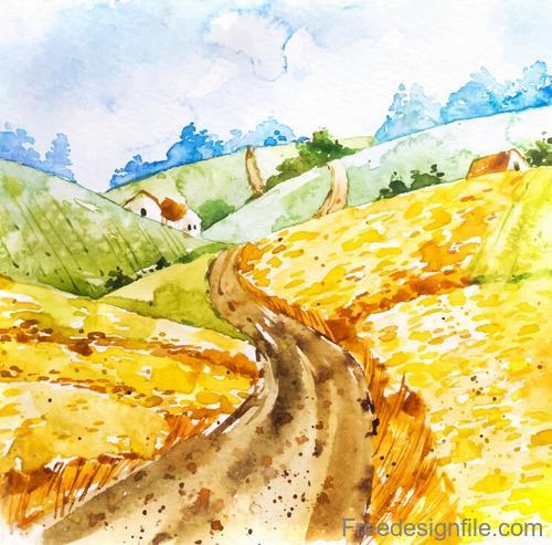 Farm landscape watercolor drawn vector 10
