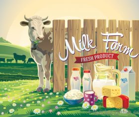 Farm landscape with milk product vector