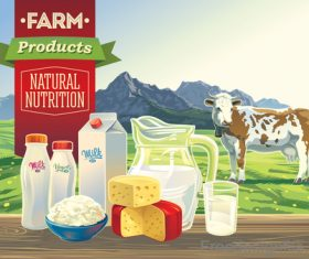 Farm milk food with mountain vector