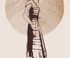 Fashion girls hand drawn illustration vectors 05