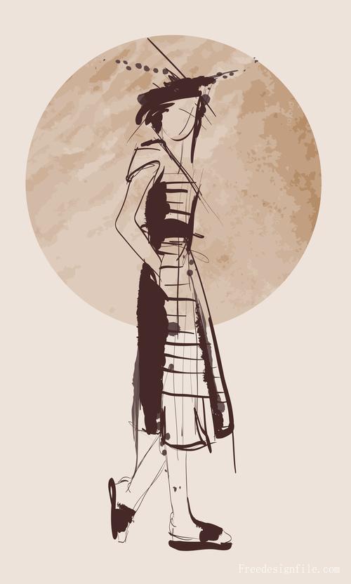 Fashion girls hand drawn illustration vectors 05