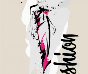 Fashion girls hand drawn illustration vectors 06