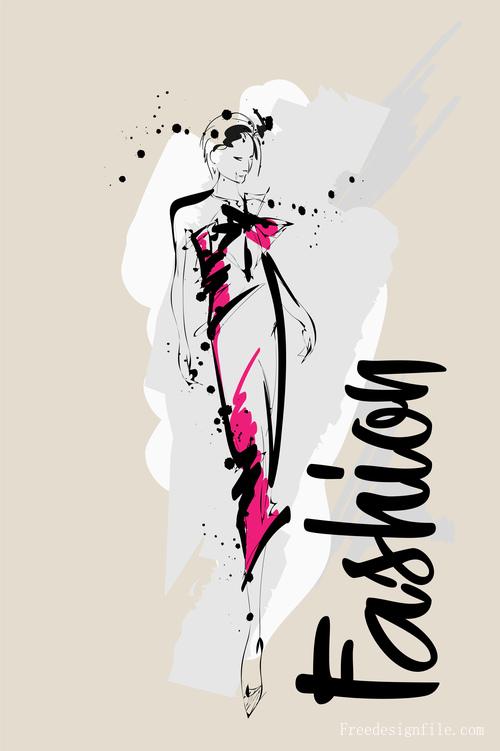 Fashion girls hand drawn illustration vectors 06