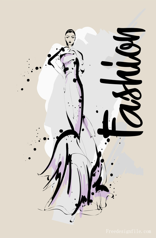 Fashion girls hand drawn illustration vectors 07