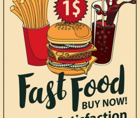 Fast food buy now retro flyer vector material 01