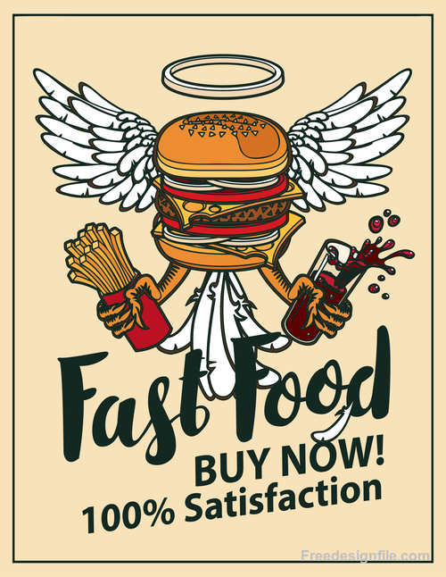 Fast food buy now retro flyer vector material 02