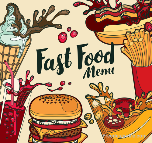 Fast food menu retro design vector material