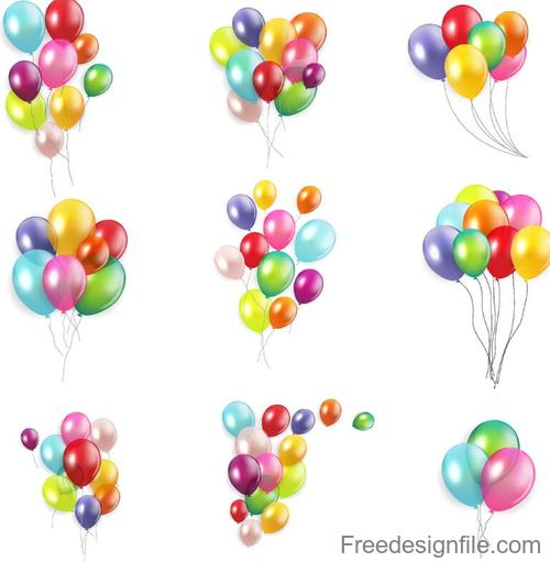 Festival colored balloons illustration vector 02