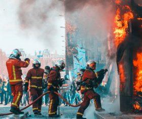 Firefighter firefighting scene Stock Photo