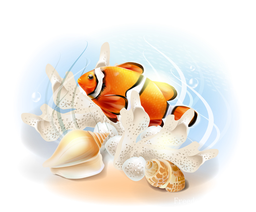 Fish illustration vector design 02