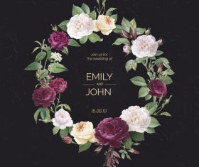 Flower garland with wedding invitation vector