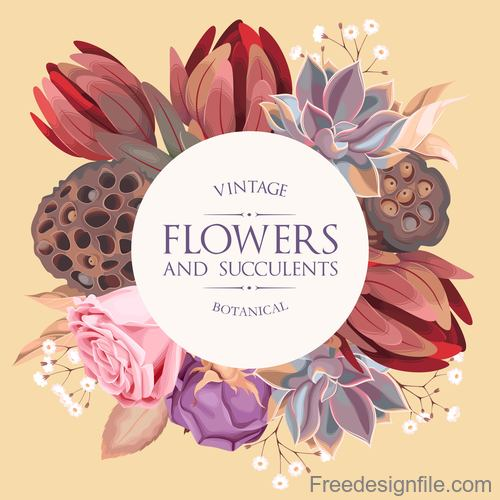 Flower with succulents vintage design vector 02