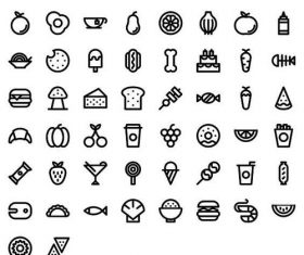 Food lines icons set