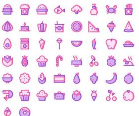 Foods Pink Mavis icons set