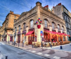 French street corner cafe Stock Photo