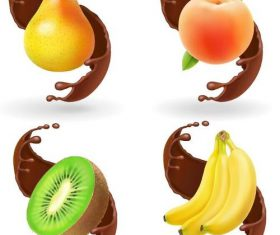 Fresh fruits with chotolate illustration vector 02