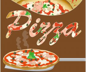 Fresh pizza vector background design