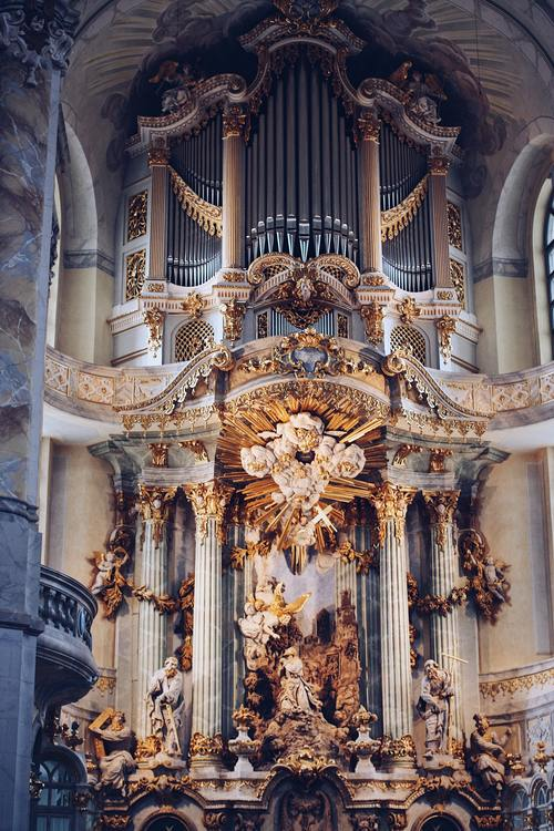 German organ in the church Stock Photo