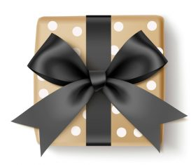 Gift box with black bows vector design