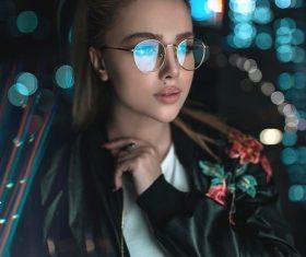 Girl wearing myopia glasses Stock Photo
