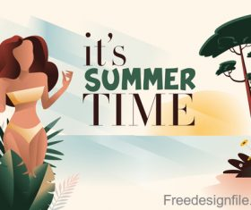 Girl with summer background design vector 01