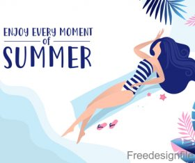 Girl with summer background design vector 02
