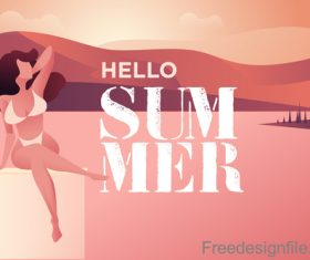 Girl with summer background design vector 03