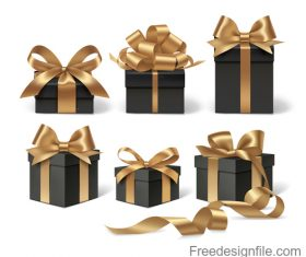Gloden ribbon bows with black gift box vector 02
