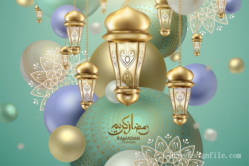 Gold lamp with ramadan kareem festival background vector