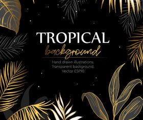 Gold palm tropical background vector 01