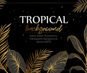 Gold palm tropical background vector 03