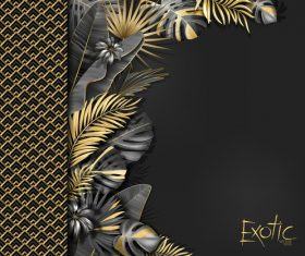 Gold palm tropical background vector 04