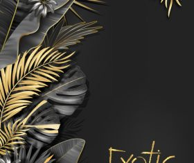 Gold palm tropical background vector 05